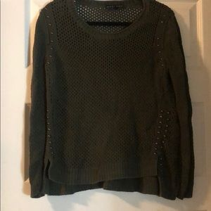 Army green knit sweater with studs